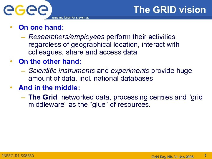The GRID vision Enabling Grids for E-scienc. E • On one hand: – Researchers/employees