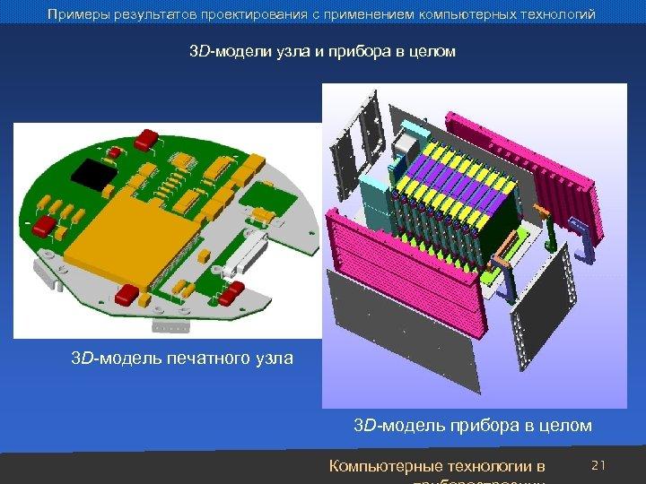 Примеры результатов проектирования с применением компьютерных технологий 3 D-модели узла и прибора в целом