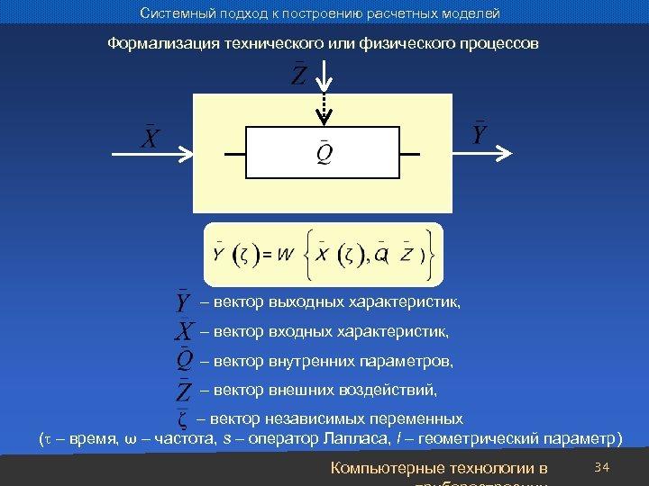Системный подход к построению расчетных моделей Формализация технического или физического процессов – вектор выходных
