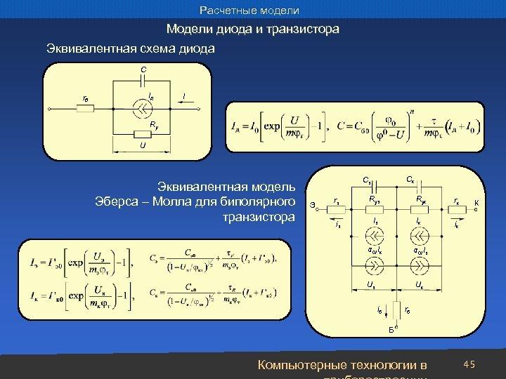 Расчетные модели Модели диода и транзистора Эквивалентная схема диода С IД rб I Ry