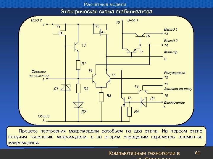 Расчетные модели Электрическая схема стабилизатора Процесс построения макромодели разобьем на два этапа. На первом