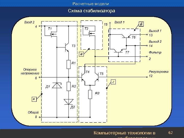 Расчетные модели Схема стабилизатора Компьютерные технологии в 62