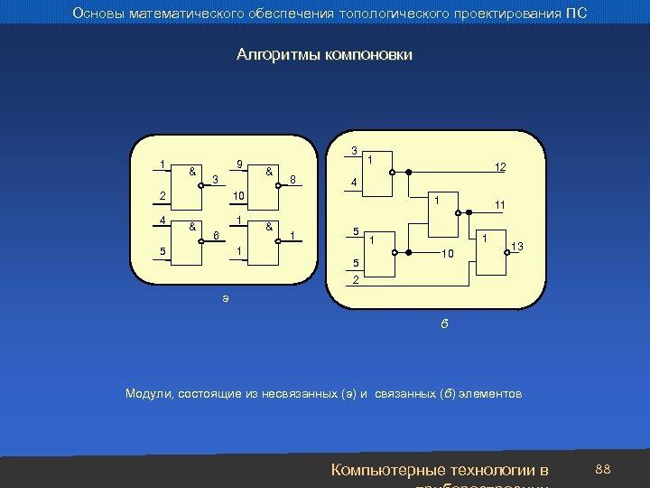 Основы математического обеспечения топологического проектирования ПС Алгоритмы компоновки 3 1 & 9 3 2
