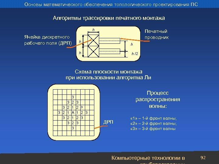 Основы математического обеспечения топологического проектирования ПС Алгоритмы трассировки печатного монтажа h Ячейка дискретного рабочего