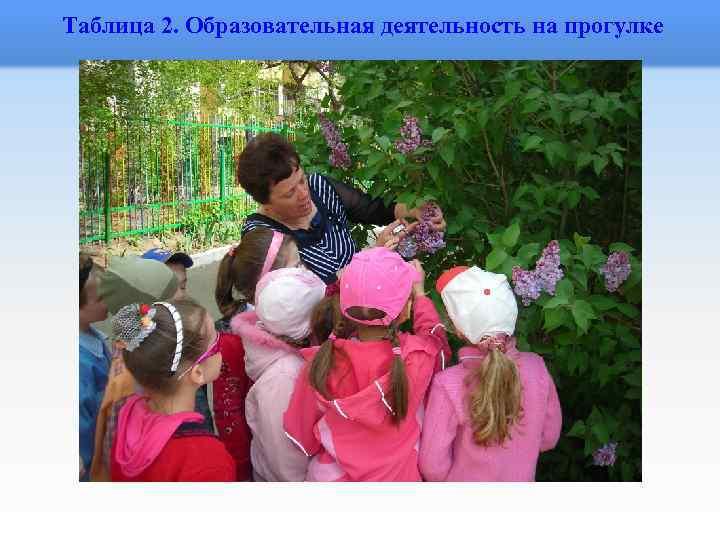 Таблица 2. Образовательная деятельность на прогулке