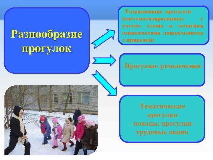 Развивающие прогулки (систематизированные с учетом сезона и тематики ознакомления дошкольников с природой) Разнообразие