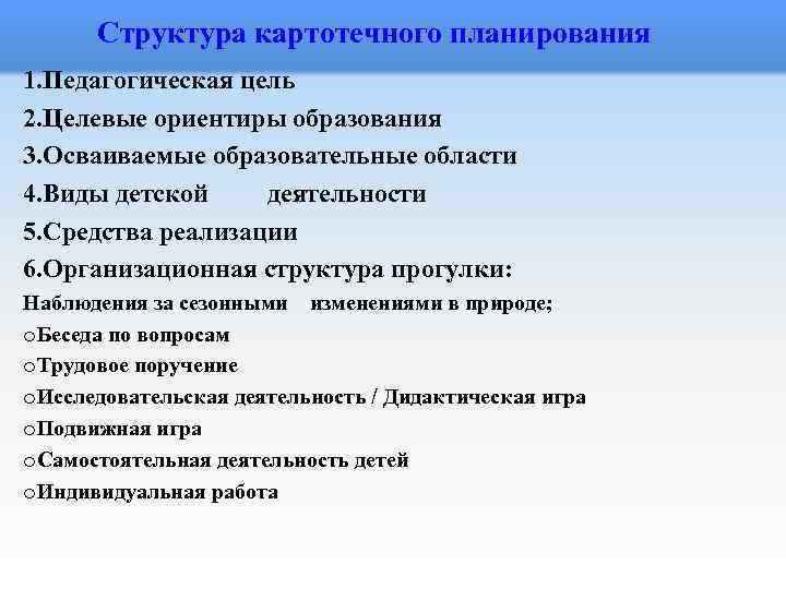 Структура картотечного планирования 1. Педагогическая цель 2. Целевые ориентиры образования 3. Осваиваемые образовательные области