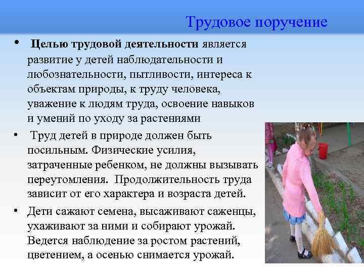 Трудовое поручение • Целью трудовой деятельности является развитие у детей наблюдательности и любознательности,