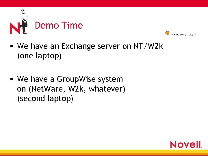 Demo Time • We have an Exchange server on NT/W 2 k (one laptop)