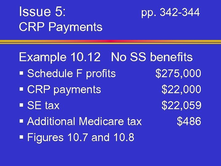 Issue 5: pp. 342 -344 CRP Payments Example 10. 12 No SS benefits §