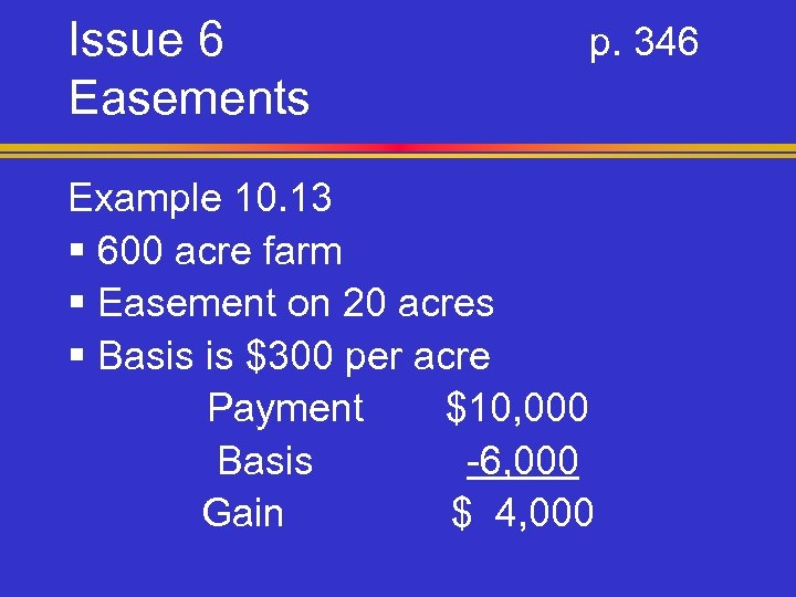Issue 6 Easements p. 346 Example 10. 13 § 600 acre farm § Easement