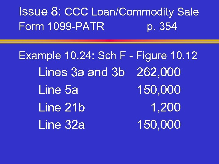 Issue 8: CCC Loan/Commodity Sale Form 1099 -PATR p. 354 Example 10. 24: Sch