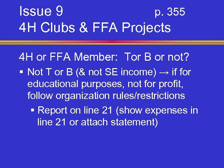 Issue 9 p. 355 4 H Clubs & FFA Projects 4 H or FFA