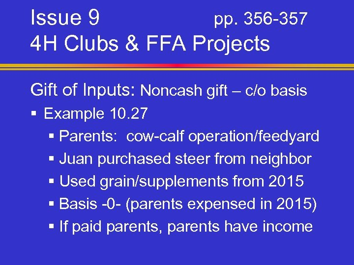 Issue 9 pp. 356 -357 4 H Clubs & FFA Projects Gift of Inputs: