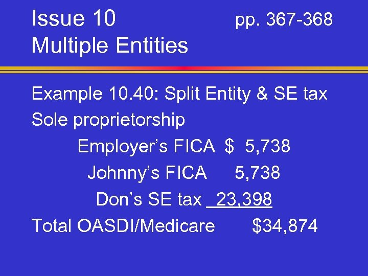 Issue 10 Multiple Entities pp. 367 -368 Example 10. 40: Split Entity & SE