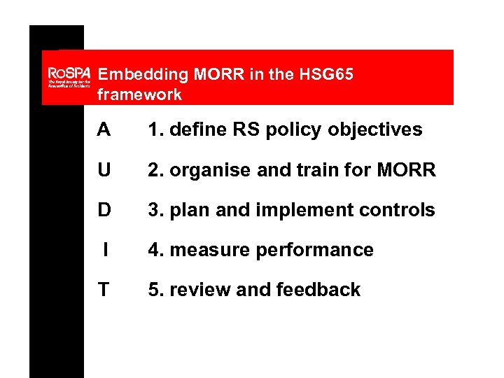 Embedding MORR in the HSG 65 framework A 1. define RS policy objectives U