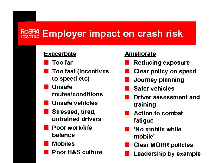Employer impact on crash risk Exacerbate n Too far n Too fast (incentives to