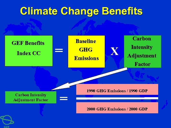Climate Change Benefits GEF Benefits Index CC Carbon Intensity Adjustment Factor = = Baseline