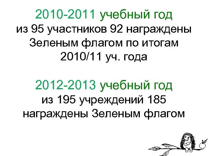 2010 -2011 учебный год из 95 участников 92 награждены Зеленым флагом по итогам 2010/11