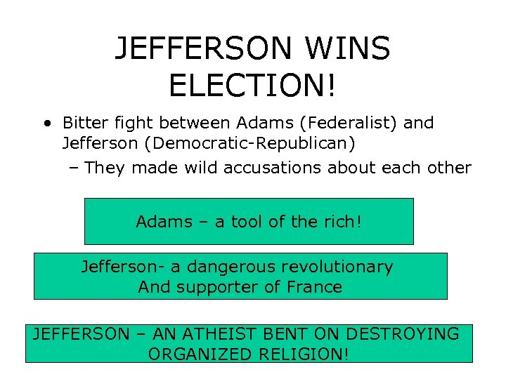 JEFFERSON WINS ELECTION! • Bitter fight between Adams (Federalist) and Jefferson (Democratic-Republican) – They