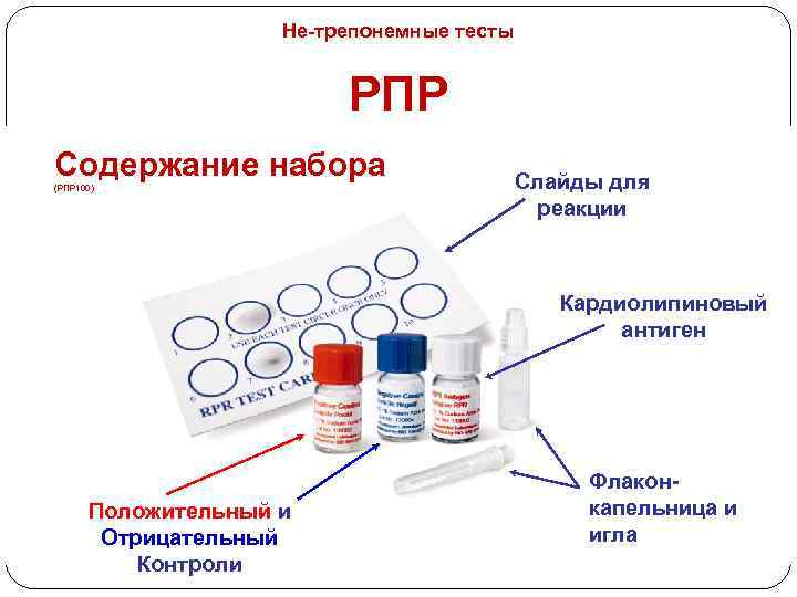 Не-трепонемные тесты РПР Содержание набора (РПР 100) Слайды для реакции Кардиолипиновый антиген Положительный и