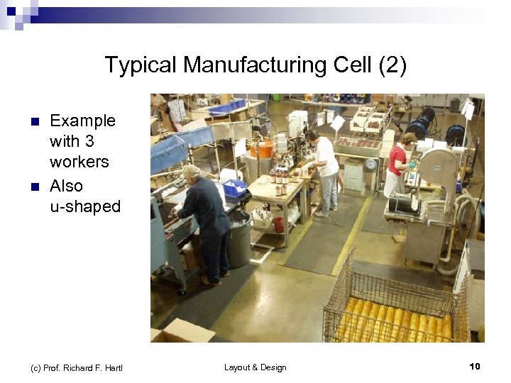 Typical Manufacturing Cell (2) n n Example with 3 workers Also u-shaped (c) Prof.
