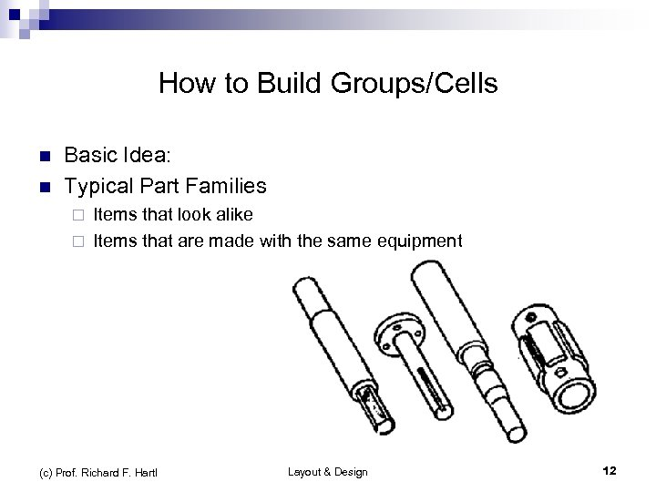 How to Build Groups/Cells n n Basic Idea: Typical Part Families Items that look