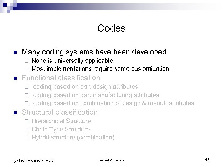 Codes n Many coding systems have been developed None is universally applicable ¨ Most