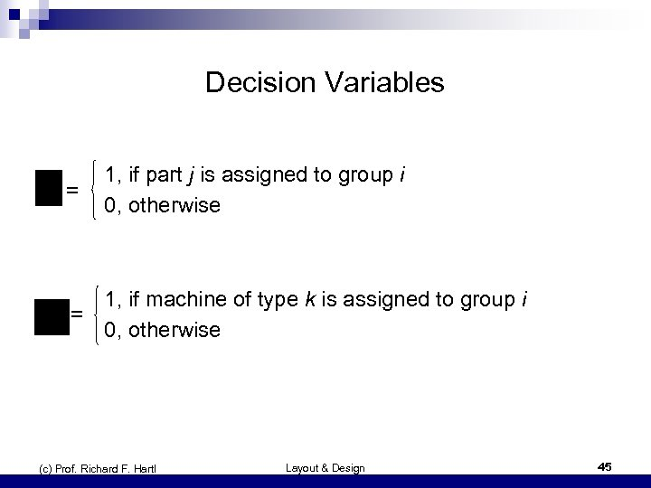 Decision Variables = 1, if part j is assigned to group i 0, otherwise