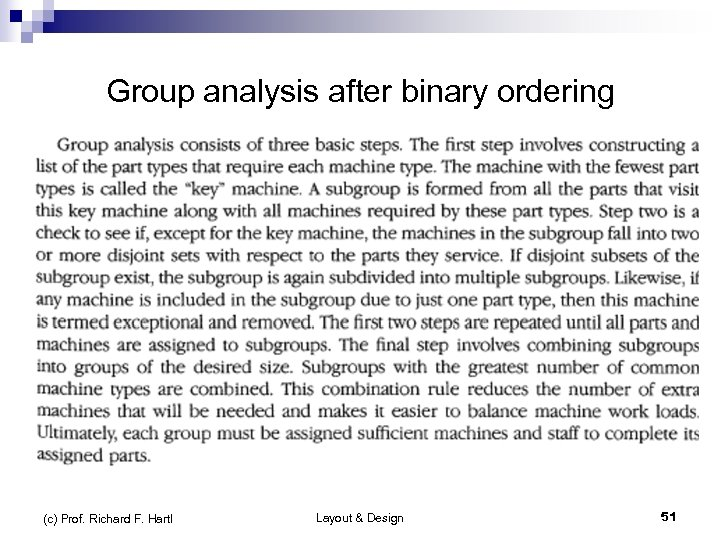 Group analysis after binary ordering (c) Prof. Richard F. Hartl Layout & Design 51
