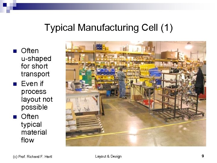 Typical Manufacturing Cell (1) n n n Often u-shaped for short transport Even if