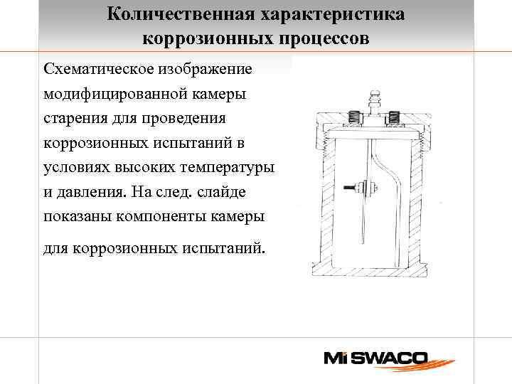 Количественная характеристика коррозионных процессов Схематическое изображение модифицированной камеры старения для проведения коррозионных испытаний в