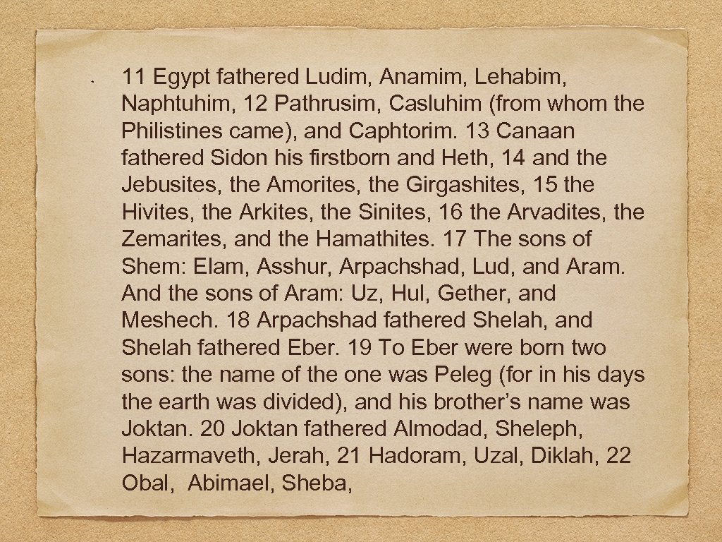 11 Egypt fathered Ludim, Anamim, Lehabim, Naphtuhim, 12 Pathrusim, Casluhim (from whom the Philistines