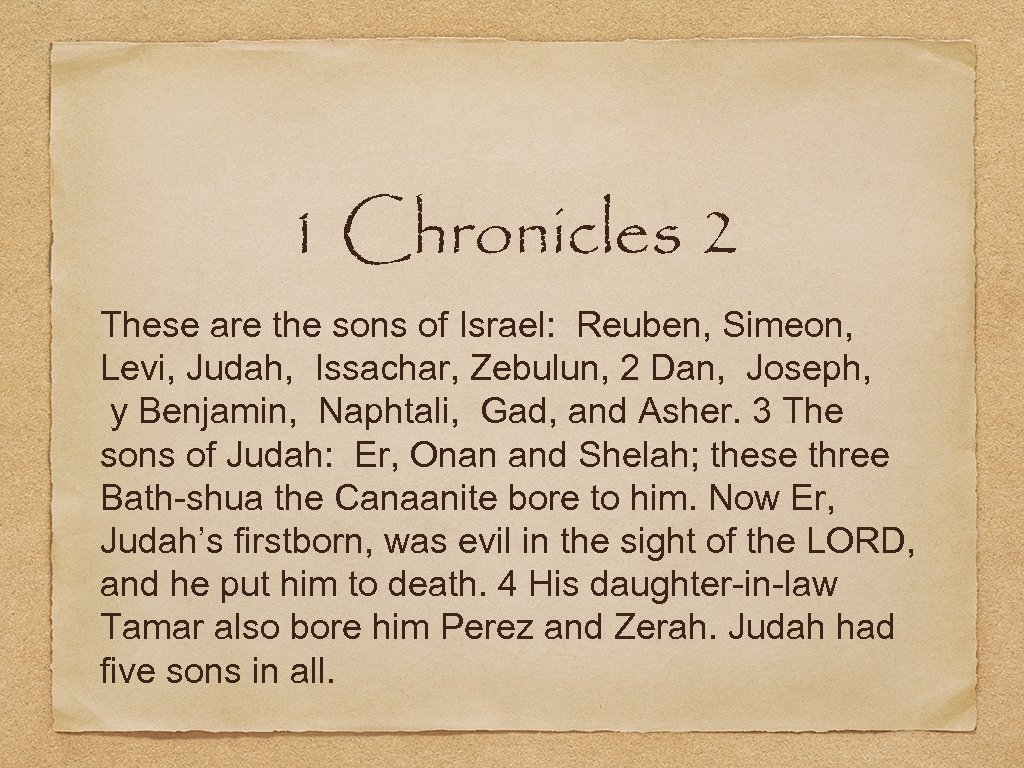 1 Chronicles 2 These are the sons of Israel: Reuben, Simeon, Levi, Judah, Issachar,