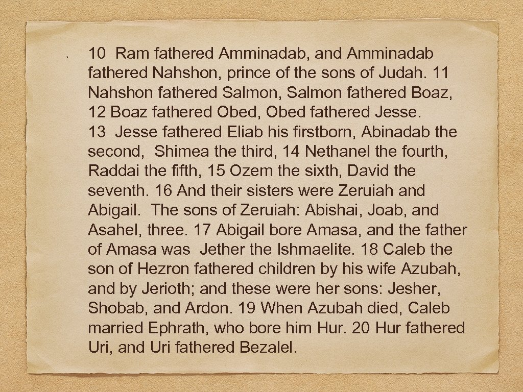 10 Ram fathered Amminadab, and Amminadab fathered Nahshon, prince of the sons of Judah.