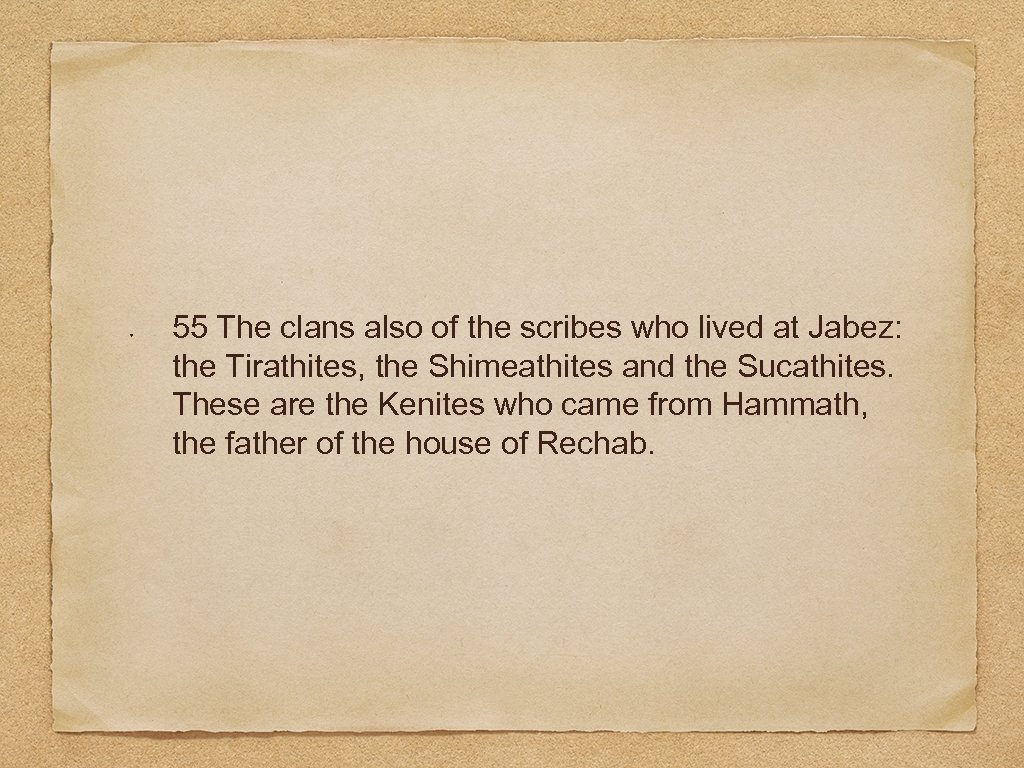 55 The clans also of the scribes who lived at Jabez: the Tirathites, the