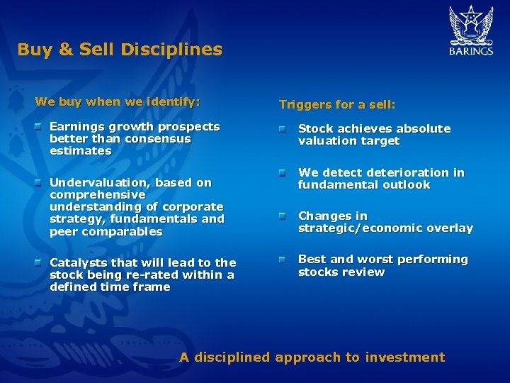 Buy & Sell Disciplines We buy when we identify: Earnings growth prospects better than