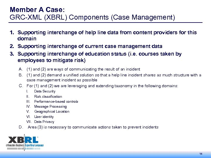 Member A Case: GRC-XML (XBRL) Components (Case Management) 1. Supporting interchange of help line