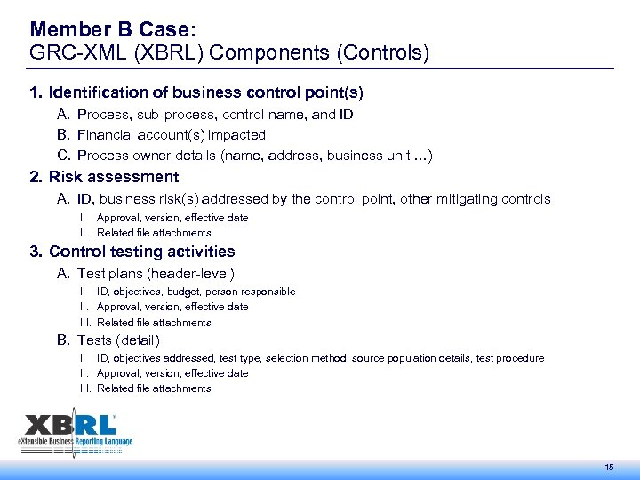 Member B Case: GRC-XML (XBRL) Components (Controls) 1. Identification of business control point(s) A.