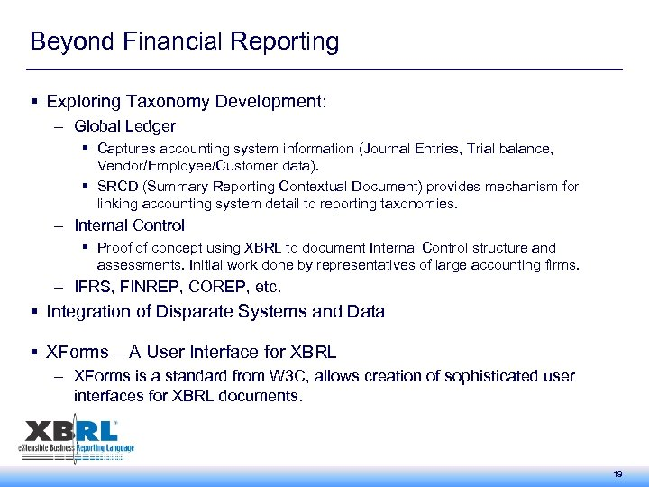 Beyond Financial Reporting § Exploring Taxonomy Development: – Global Ledger § Captures accounting system