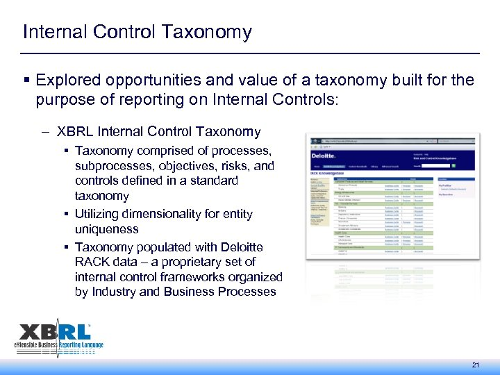 Internal Control Taxonomy § Explored opportunities and value of a taxonomy built for the