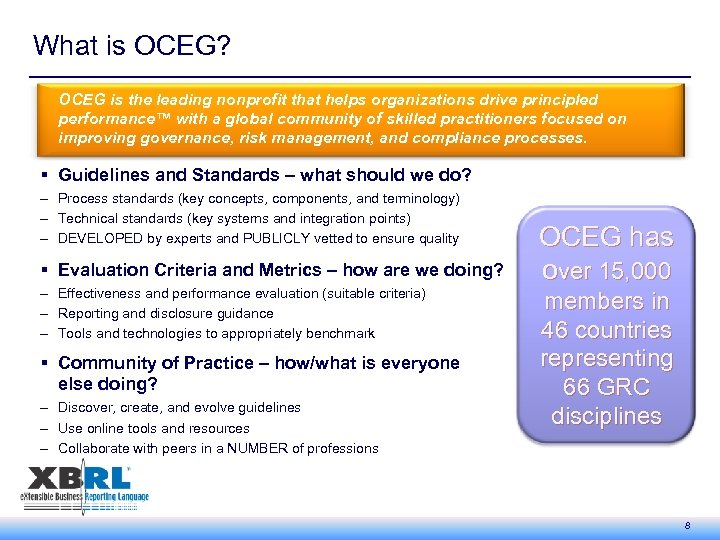 What is OCEG? OCEG is the leading nonprofit that helps organizations drive principled performance™