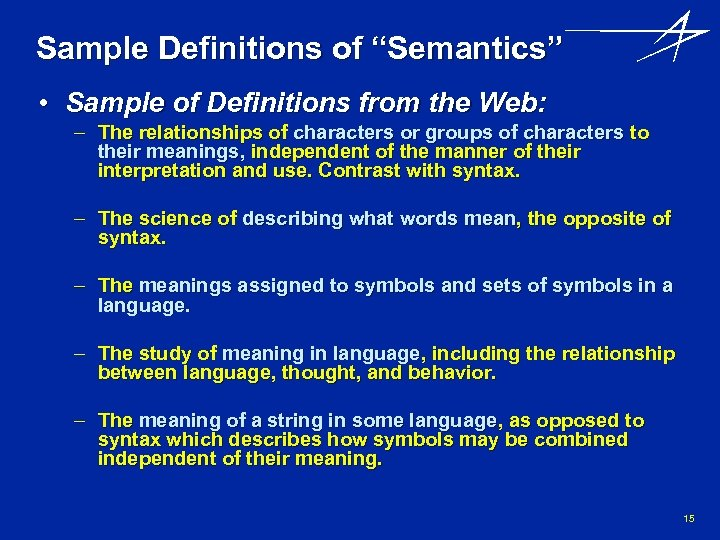 """Sample Definitions of """"Semantics"""" • Sample of Definitions from the Web: – The relationships"""