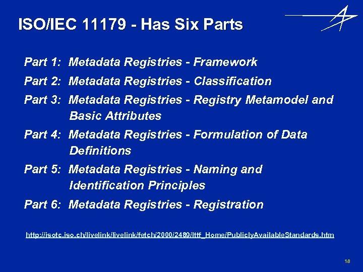 ISO/IEC 11179 - Has Six Parts Part 1: Metadata Registries - Framework Part 2: