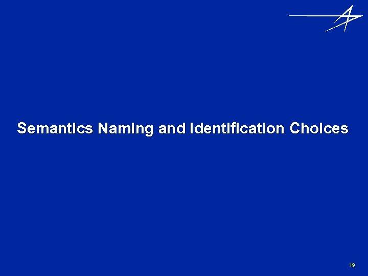 Semantics Naming and Identification Choices 19