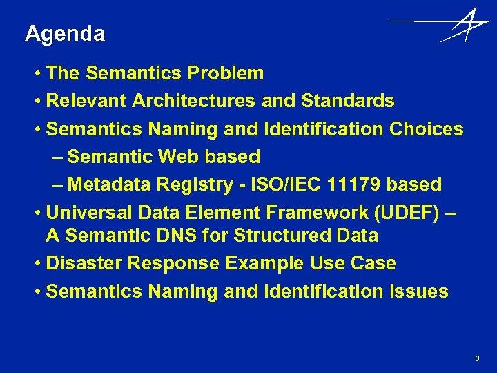 Agenda • The Semantics Problem • Relevant Architectures and Standards • Semantics Naming and