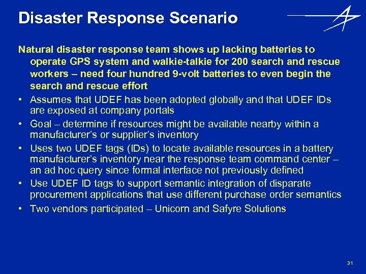Disaster Response Scenario Natural disaster response team shows up lacking batteries to operate GPS