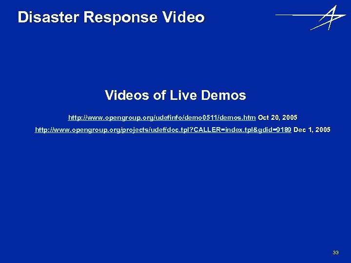 Disaster Response Videos of Live Demos http: //www. opengroup. org/udefinfo/demo 0511/demos. htm Oct 20,