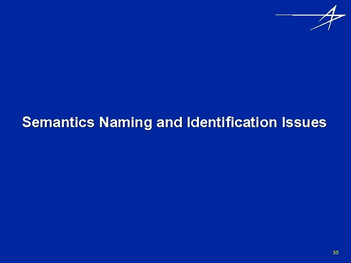 Semantics Naming and Identification Issues 35