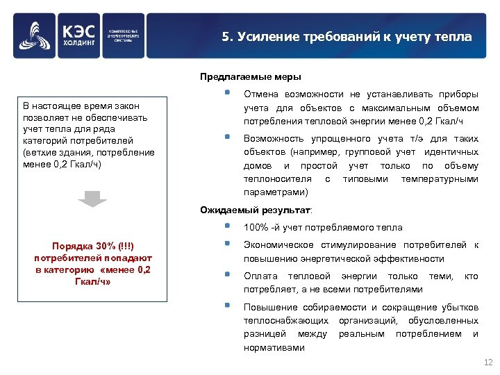 5. Усиление требований к учету тепла Предлагаемые меры В настоящее время закон позволяет не